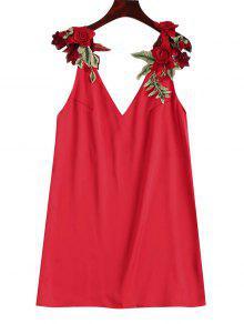 Vestido Recto Con Parche Floral - Rojo M