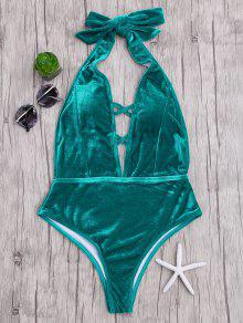 Velvet Plunge Backless One Piece Swimsuit - Malachite Green M