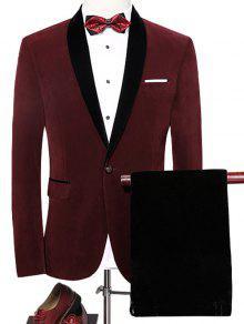 بدلة حرمي بزر واحد شال الرقبة مخملية - نبيذ أحمر Xl