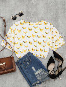 Drop Shoulder Banana Print Crop Blouse - White