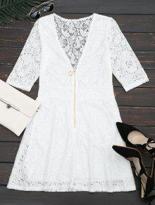 Plunging Neck Half Zip Lace Dress - White L