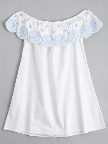 Flounce Off The Shoulder Embroidered Dress - White L