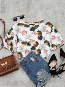 Pineapple Print Drop Shoulder Crop Blouse - Multi