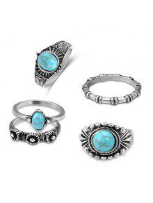Bohemian Faux Turquoise Oval Ring Set - Silver