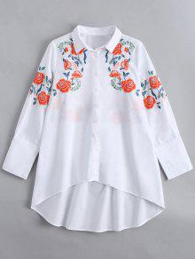 Long Sleeve Embroidered High Low Shirt - White L