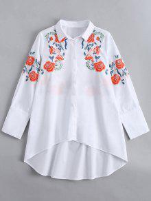 Camisa Manga Curta Bordada Com Manga Comprida - Branco S
