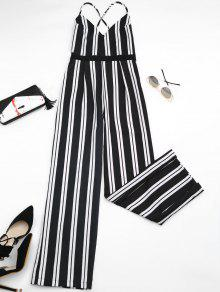 Criss Cross Stripes Wide Leg Jumpsuit - Stripe M