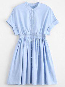 فستان فضفاض الخصر زر مريح - الضوء الأزرق L