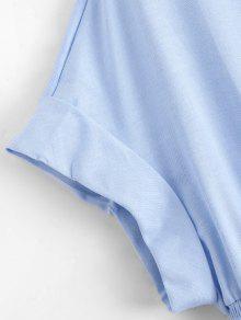 Botones Claro Vestido L Casual Cintura De Con Con Bata Azul Delgada qf7pPf