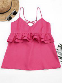 Cami Ruffles Lace Up Tank Top - Rosa Roja S