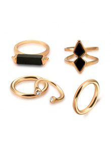 Geometric Vintage Cuff Ring Set - Golden