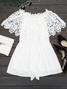 Off The Shoulder Lace Panel Romper - White M