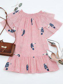 Off Shoulder Smocked Striped Ruffles Dress - Stripe