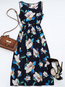 High Waisted Sleeveless Floral Maxi Dress - PURPLISH BLUE XL
