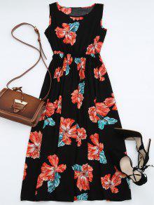 High Waisted Sleeveless Floral Maxi Dress - BLACK M