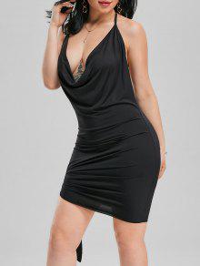 فستان نادي رسن عارية الظهر مصغر - أسود M