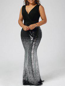 فستان الحجم الكبير ماكسي ميرميد - أسود 5xl