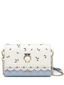 حقيبة كروسبودي مجوفة مزينة ببومة - أزرق