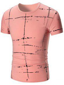 Camiseta De Manga Corta Con Impresión Pintada - Rosa 2xl