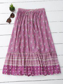 Flounces Tribal Print A Line Skirt - Light Purple L