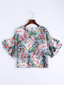 Floral Bell Sleeve Striped Blouse - Floral L