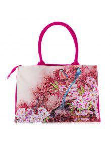 Flower Printed Canvas Handbag - Rose Red