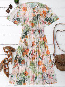 Elastic Waist Sheer Floral Midi Dress - Floral M