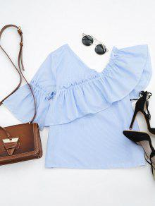 Ruffle Hem Skew Collar Striped Blouse - Light Blue S