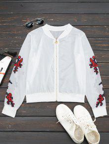 Floral Print Zip Up Jacket - Red M