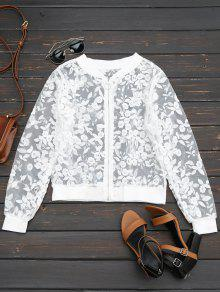 Sheer Floral Embroidered Zip Up Jacket - White M