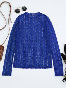 Sheer Long Sleeve Lace Blouse - Royal