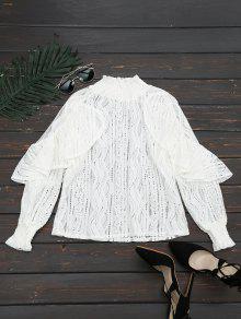 Ruffle Hem Sheer Blouse - White 2xl
