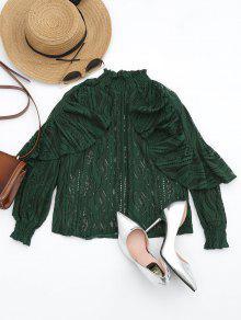 Ruffle Hem Sheer Blouse - Blackish Green L