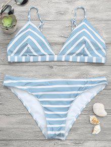 Chevron Striped Cami Bikini Set - Blue And White S
