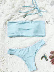 High Cut Bandeau Thong Bathing Suit - Light Blue M