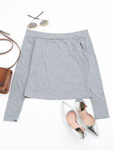 Off The Shoulder Long Sleeve Crop Tee - Gray S