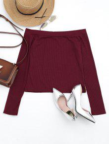 Off The Shoulder Long Sleeve Crop Tee - Dark Red M