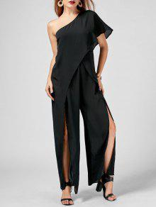 One Shoulder High Slit Chiffon Jumpsuit - Black 2xl