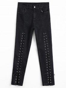 جينز رصاص رباط عالية الخصر - أسود M