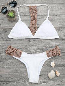 Juego De Bikini Acolchado Con Malla De Macrame - Caqui M
