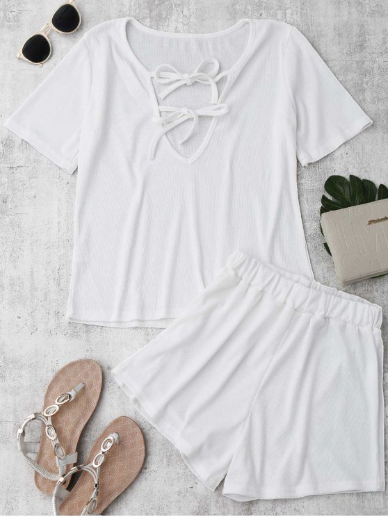 outfit Tie Front Plunge Shorts Set Beach Cover Up - WHITE XL