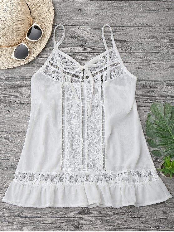 Lace Chiffon Beach Cover Up Cami Top - Blanc XL