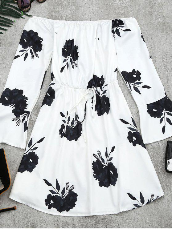 fancy Floral Print Long Sleeve Dress - BLACK L
