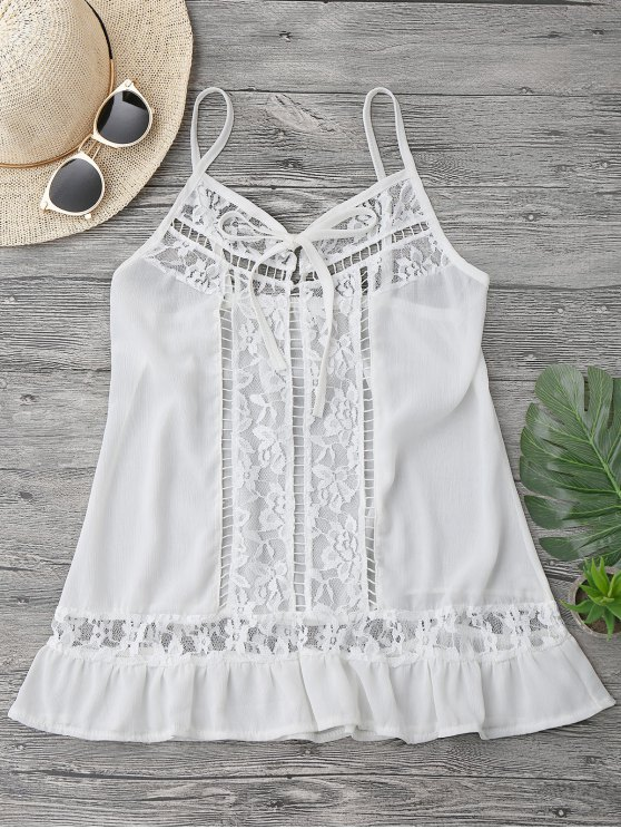 trendy Lace Chiffon Beach Cover Up Cami Top - WHITE M