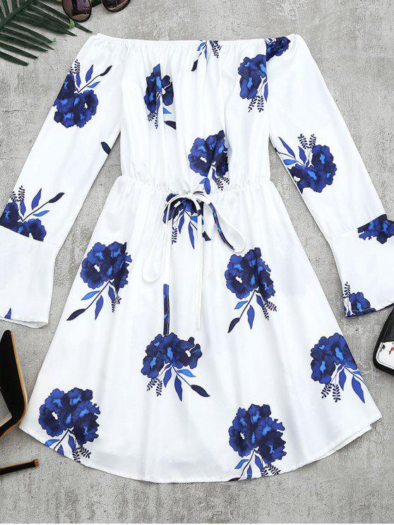 buy Floral Print Long Sleeve Dress - BLUE L