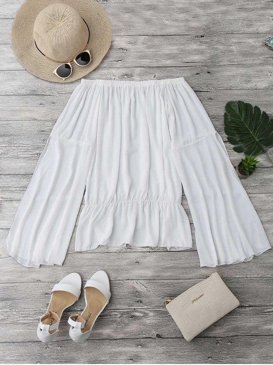 unique Off The Shoulder Chiffon Beach Cover Up Top - WHITE S