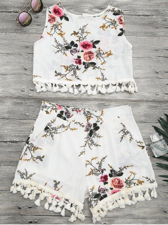 Conjunto de pantalones cortos de la playa de la impresión floral de la cubierta - Blancuzco XL