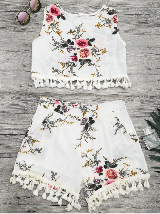 buy Floral Print Beach Cover Up Shorts Set - OFF-WHITE M