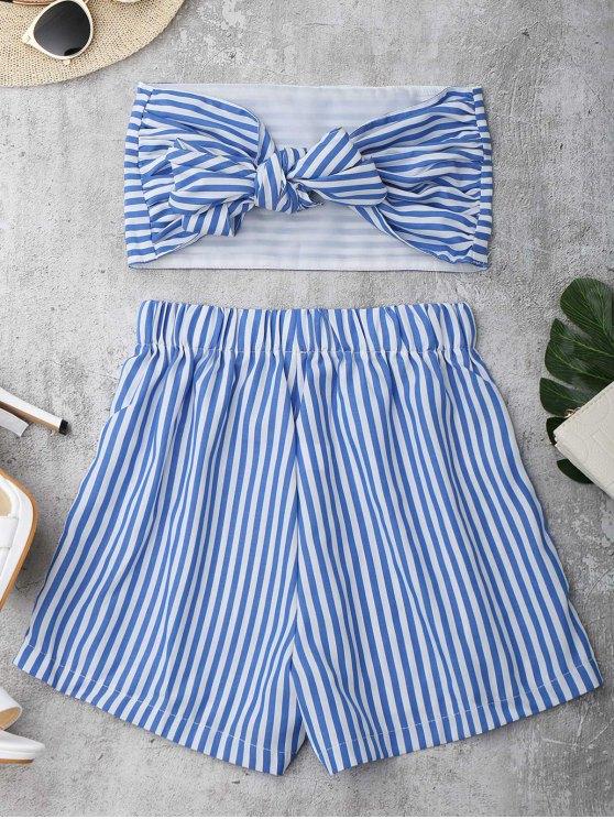 Conjunto Top Tomara Que Caia + Bermuda Solta Com Listras - Azul e Branco L