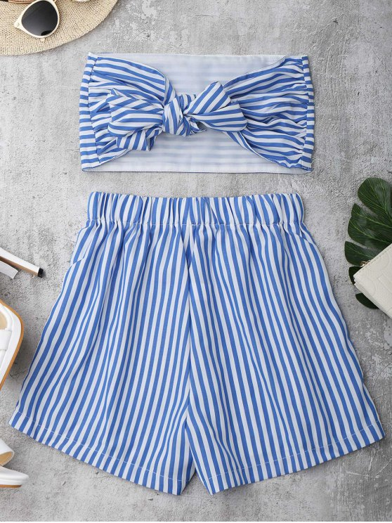 new Knot Bandeau Shorts Set Beach Cover Up - BLUE AND WHITE M